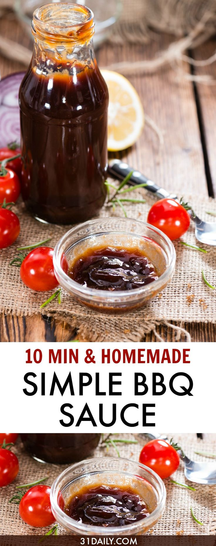 10 minutes to a homemade BBQ sauce - and it keeps in the fridge for up to a month. Deliciously easy!  A Simple Barbecue Sauce That's Sweet and a Tad Spicy   31Daily.com