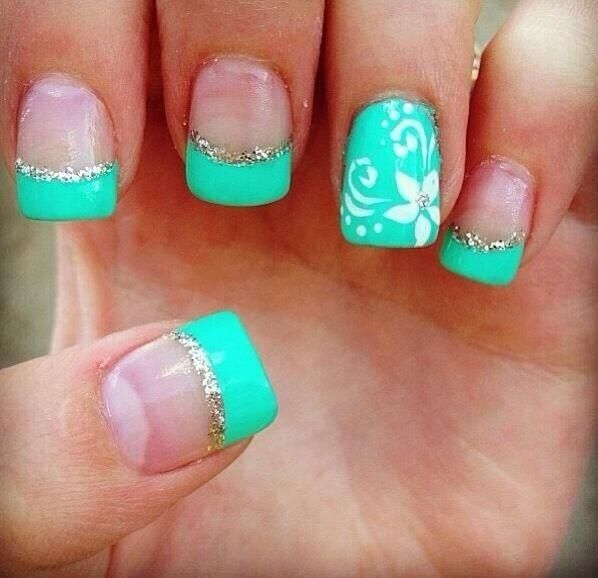 Teal French mani tips with signature nail with full color and flowers