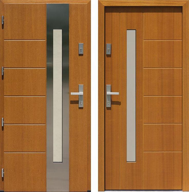 Drzwi wejściowe z aplikacjamii ze stali nierdzewnej inox wzór 475,4-475,14 złoty dąb