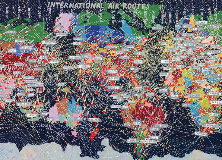 """Paula Scher, The World, 1998 // """"In her 2002 book, Make It Bigger, graphic designer Paula Scher explains that she began painting """"small opinionated maps in the early nineties. Over time they grew larger and more obsessive. In the late nineties and now the map paintings serve as an antidote to laborious corporate design projects frustrated by indecisive committees."""""""