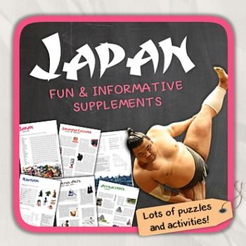 Lets get to know Japan! This worksheet includes 21 pages with a great variety of activities and exercises about Japan. The materials have informative exercises about the things that Japan is famous for, such as Sushi, Sumo wrestling, Samurai, Mount Fuji, Ninjas and many other things!