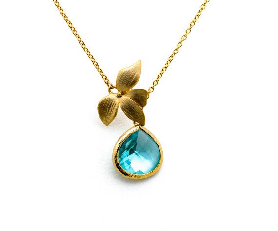 Gold Flower Pendant with Aquamarine Crystal by PROMISEMEEVERYTHING