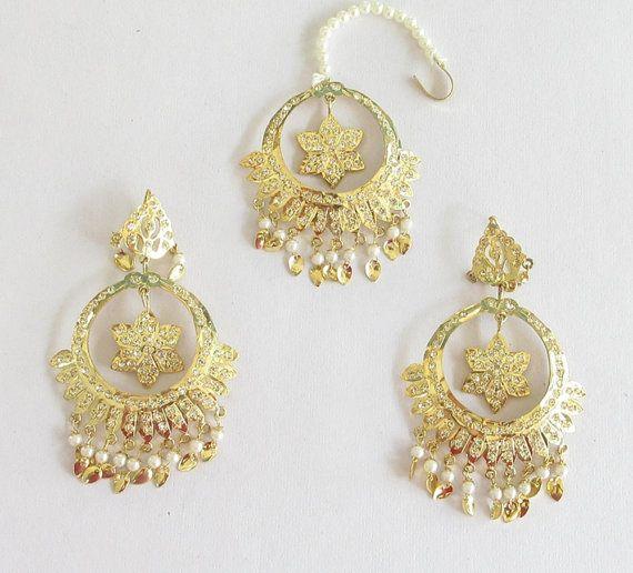 Jadau Gold Star Dangle Pipal Patti Earrings By