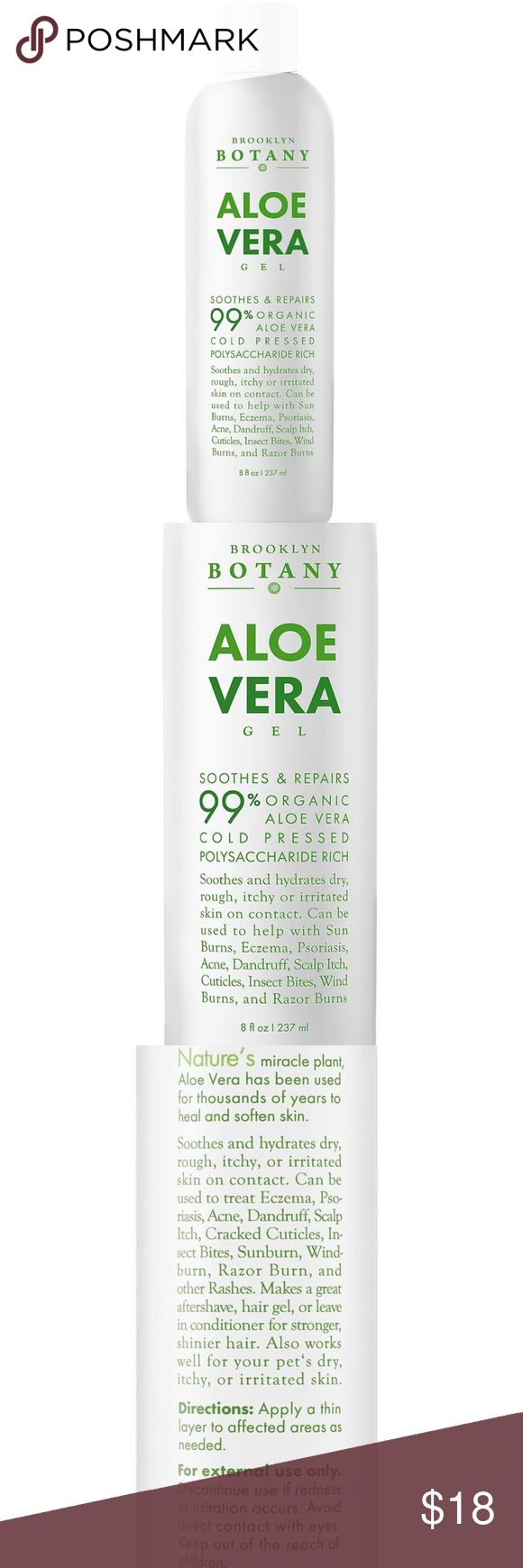 Aloe Vera Gel 8 oz - Organic Cold Pressed Aloe NEW Aloe Vera Gel 8 oz - Soothes and Hydrates Dry, Itchy, or Irritated Skin; great for Acne, Dandruff, Sunburn, Rashes - Brooklyn Botany. 100% PURE AND NATURAL: Our Aloe Vera Gel is 100% Natural, containing 99.75% Organic Aloe Vera Gel; No Added Color, Fragrance, or Alcohol. CONTAINS VITAMIN C: Our Organic Aloe Vera Soothes and hydrates dry, itchy, or irritated skin; great for Acne treatment, Dandruff treatment, Scalp Itch, Insect Bites, Sun…