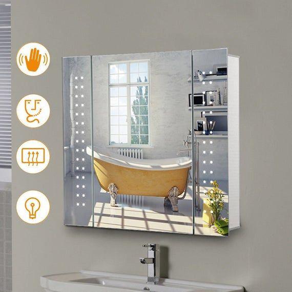 Bathroom Led Mirror Cabinet With Shaver Socket Sensor Switch Demister Pad Big Sale 50 Off Mirror Cabinets Led Mirror Mirror