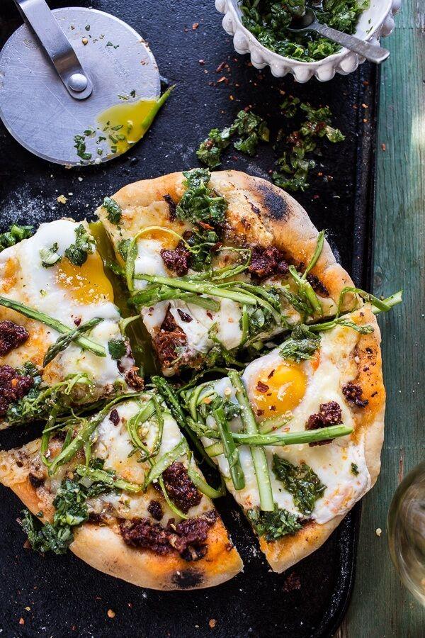 Springtime Pizza with Chipotle Romesco, Eggs + Shaved Asparagus Salad.