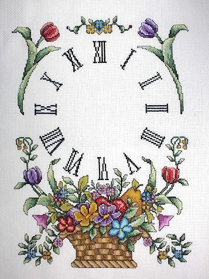 Schema punto croce Orologio Cesto Fiori 1a