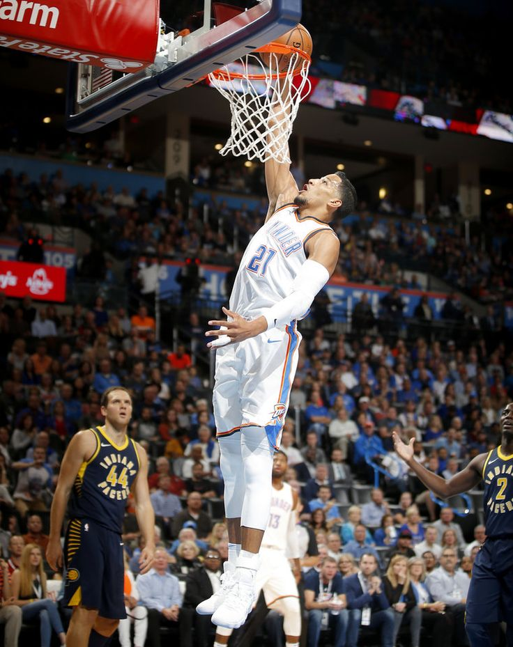 Oklahoma City's Andre Roberson (21) dunks the ball during an NBA basketball game between the Oklahoma City Thunder and the Indiana Pacers at Chesapeake Energy Arena in Oklahoma City, Wednesday, Oct. 25, 2017.  Photo by Bryan Terry, The Oklahoman