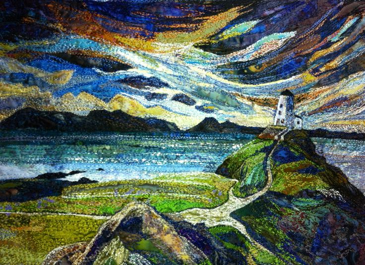 Embroidered textile by Rachel Wright. #lighthouse #coast #sky #sea #textileart