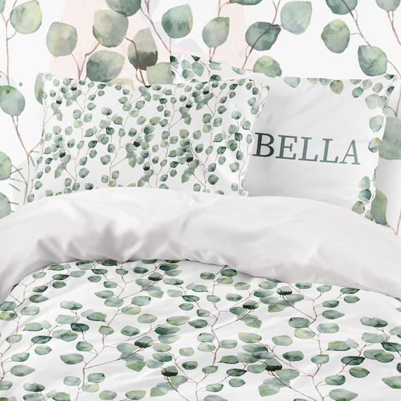 Twin Bedding Set Eucalyptus Eucalyptus Leaves Sheets Etsy In 2021 Twin Bed Sets Bedding Set Twin Bed Sheets