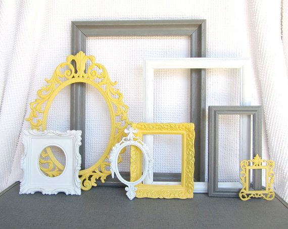 Yellow, Grey White  Ornate Vinatge Open Frames Set of 8 - Upcycled Frames Modern  Bedroom Decor