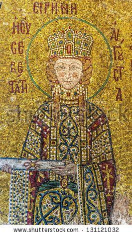 ISTANBUL, TURKEY - Empress Irene, a Byzantine mosaic in the interior of Hagia Sophia