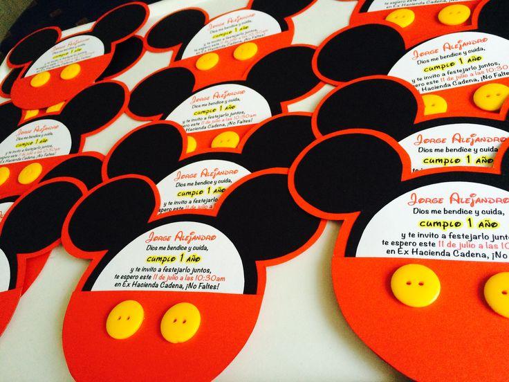 Invitación cumpleaños niño fiesta Mickey Mouse #pandadesignboutique