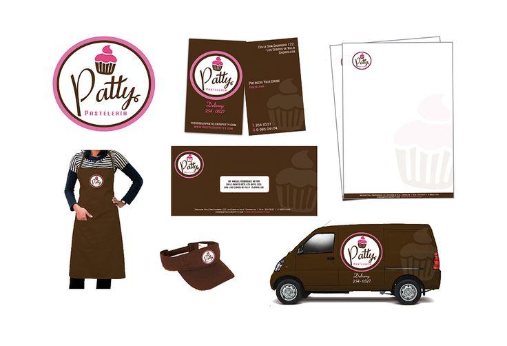 Elaboración de logotipo, brochure, uniforme y vehículo de una pastelería.