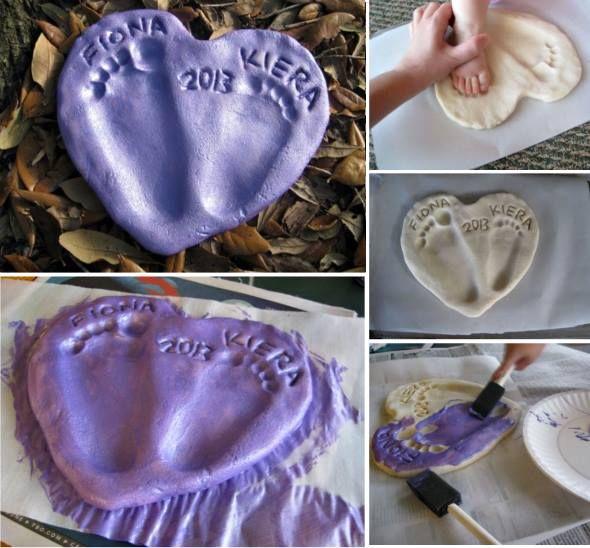 Precious footprint heart keepsake craft to do with the kids using salt dough! #Footprint #Craft #Keepsake