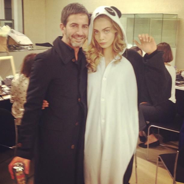 Check out Cara Delevigne in her panda onesie!