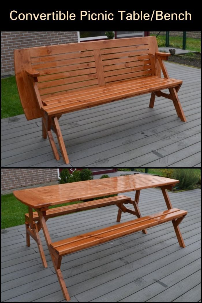 Build A Picnic Table And Bench In One Convertible Furniture Picnic Table Bench Build A Picnic Table