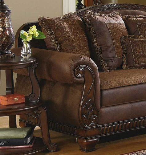 Traditional Living Room Fabric And Wood Trim Curved Sofa   BRADY - TRADITIONAL WOOD TRIM & CHENILLE FABRIC SOFA SET LIVING ROOM ...