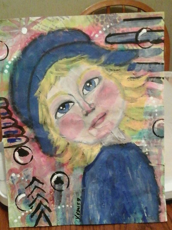 art by valv valvart Hey, I found this really awesome Etsy listing at https://www.etsy.com/ca/listing/242266245/mixed-media-portrait-whimsy-face
