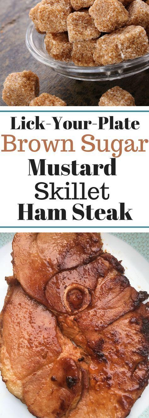 Lick-Your-Plate Clean Brown Sugar Mustard Skillet Ham Steak - IT'S THAT GOOD!