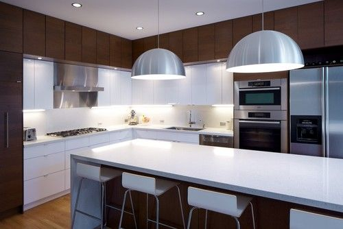 like the contrasting overhead cupboards  Modern White Kitchen Design, Pictures, Remodel, Decor and Ideas - page 22