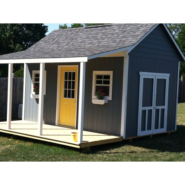 My cute shed with a porch yard pinterest shed frame for Backyard garages