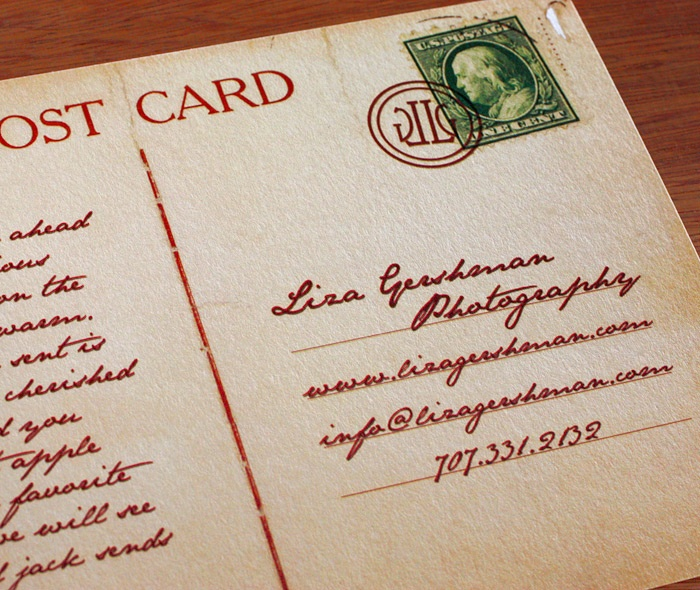 faux vintage postcards for a Bay Area photographer contained her logo as a postmark stamp. Contact info was provided on the address lines