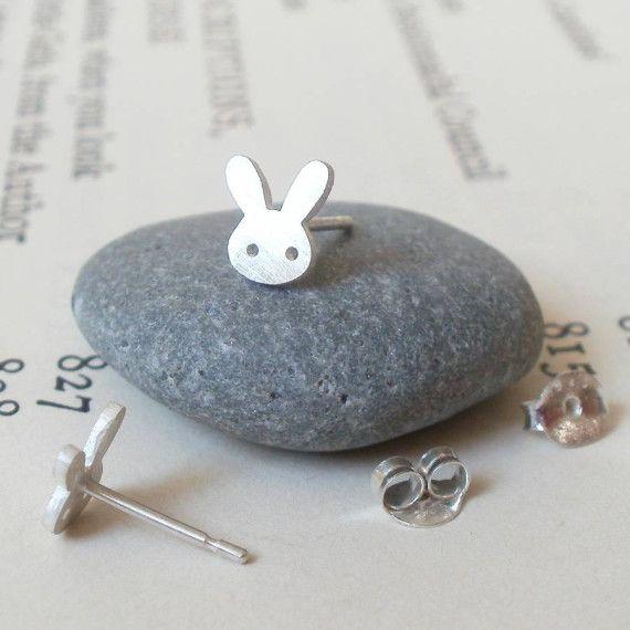 Bunny Rabbit Earring Studs In Sterling Silver