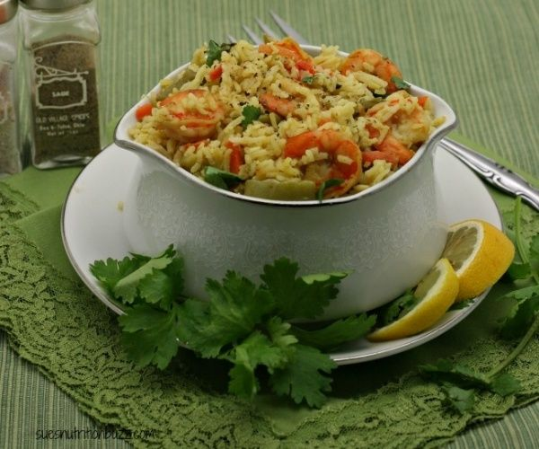 Basmati rice simmered in coconut milk, loaded with shrimp and Veggies! A One Pot Meal.  {Perfect Health Diet}