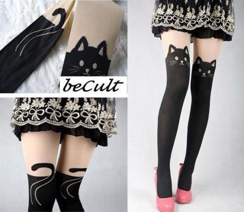 Collants Miaou! Anime CAT Tattoo Strumpfhose Kitty Overknee Manga Katze Asos | eBay Pretty sure I NEED these!