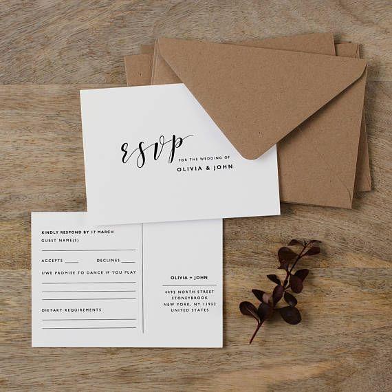 Postcard RSVP Template, Printable Wedding Postcard RSVP, Postcard Reply Cards, Post Card RSVP, Editable Rsvp Postcard Template - KPC01_103