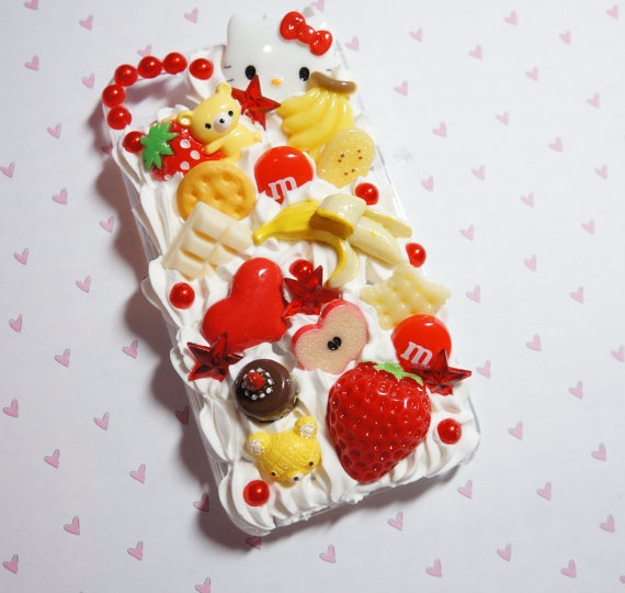 Banana and strawberry iPhone 4 decoden case