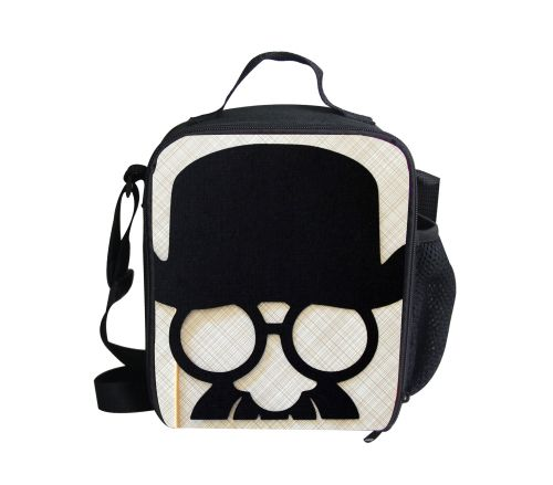 Fashion Shoulder Insulated Lunch Bag for Men Cool Mustache Printed Thermal Lunch Box Cooler Lunch Bag Outdoor Picnic Food Bag