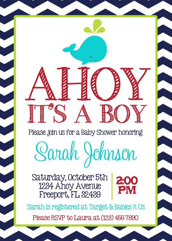 NAVY CHEVRON WHALE - Baby Boy Shower 5x7 Invitation Printable on Etsy, $8.00