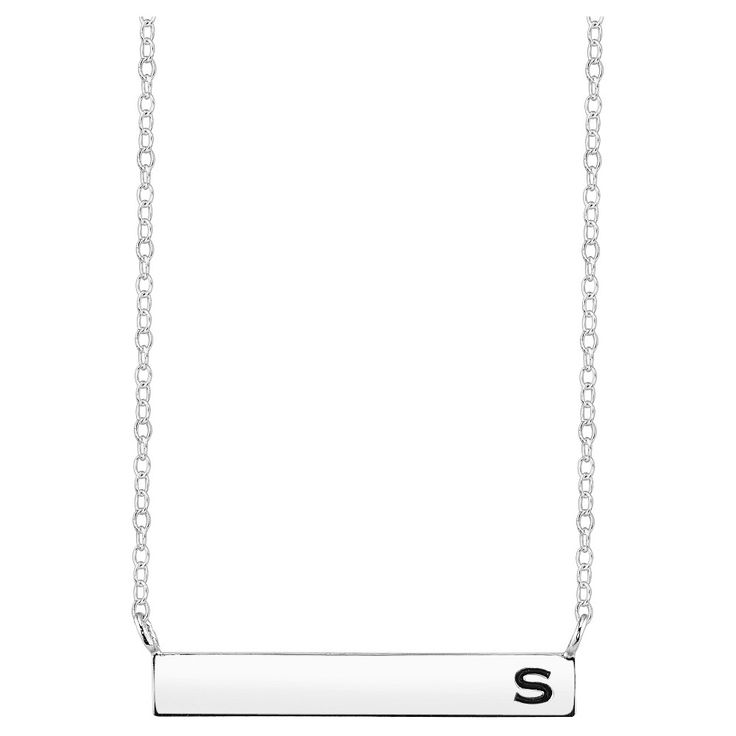 Women's Sterling Silver Station Bar Initial 's' Necklace - Silver (18.15), S