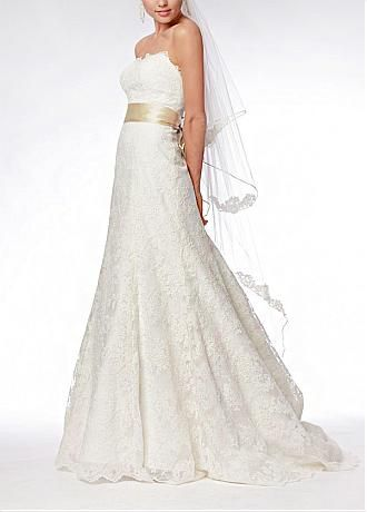 [190.43] Elegant Exquisite Lace & Satin A-line Strapless Wedding Dress - Dressilyme.com