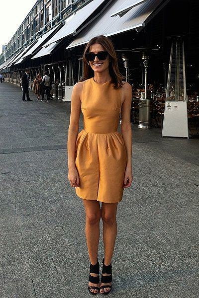 """Lunch at Otto for a media event. Wearing Ellery dress, Alaia heels and Karen Walker sunglasses."""