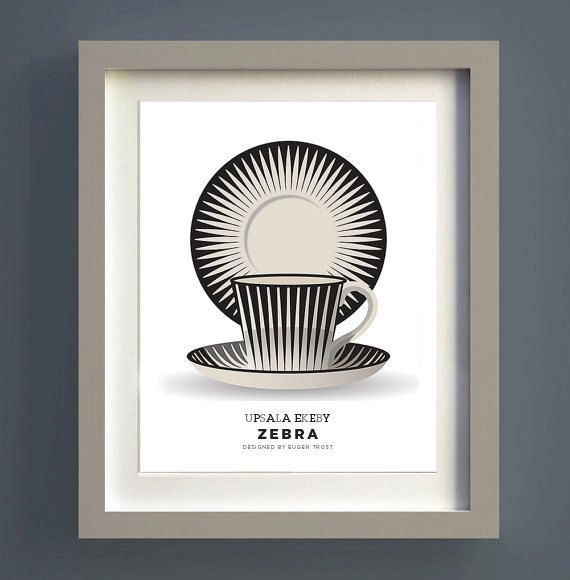 Mid century modern poster print Upsala Ekeby by visualphilosophy