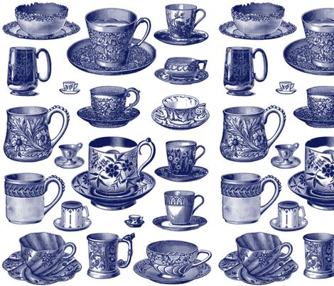 Nice Cuppa! ~ Blue    ~ by PeacoquetteDesigns on Spoonflower ~ bespoke fabric, wallpaper, wall decals & gift wrap ~ Join PD  ~ https://www.facebook.com/PeacoquetteDesigns #Spoonflower #Peacoquette