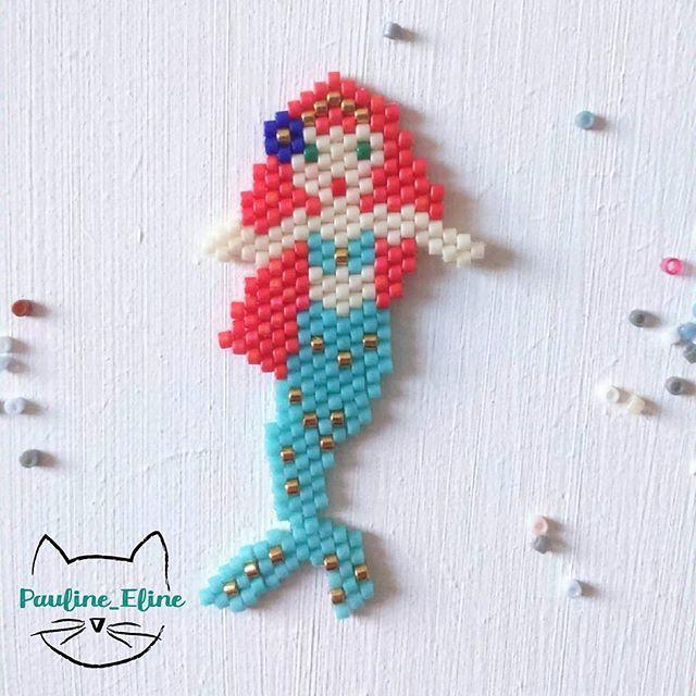 WEBSTA @ pauline_eline - Merci beaucoup pour vos avis hier, je vais retravailler mes filles-fleurs. Aujourd'hui, pas de mystère sur ce que je vous présente,  une sirène ! À l'origine ses cheveux devaient être rose mais les perles donnent un petit côté orangé,  ça va quand même. J'ai pas mal de diagrammes pour vous,  je les mettrai d'ici la fin de semaine. Bonne journée les gens!  #jenfiledesperlesetjassume #miyuki #miyukibeads #perles #perleaddict #motifpauline_eline #sirene #mermaid…