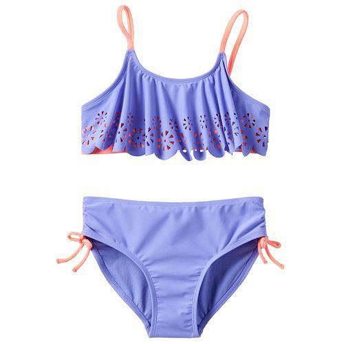 SO® Flower Cut-Out Flounce 2-pc. Bikini Swimsuit Set - Girls 7-16