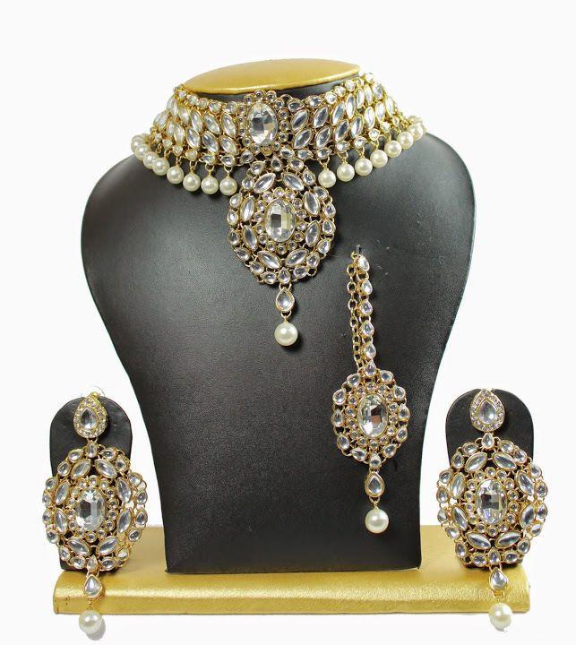 White Cz Indian Bollywood Bridal Wedding Partywear Gold Plated Necklace Set #uniquegemstone17 #Chokkar