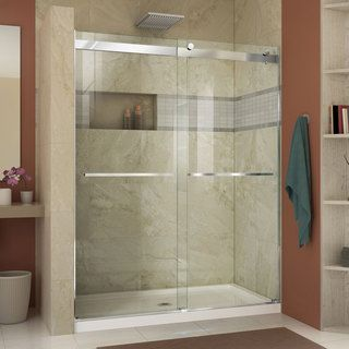 DreamLine Charisma Frameless Bypass Sliding Shower Door and SlimLine 30 x 60-inch Single Threshold Shower Base | Overstock.com Shopping - The Best Deals on Shower Kits