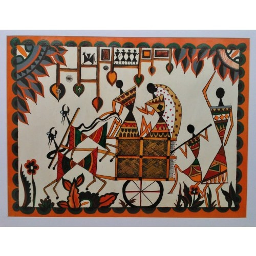 "WARLI PAINTING (ACRYLIC COLOURS ON PAPER), size 16""x20"" , 400gm - $15"
