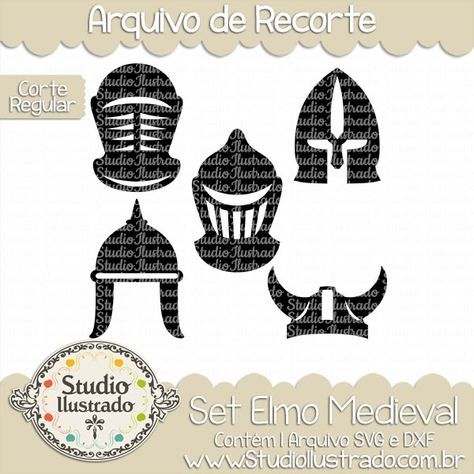 Medieval Helmet Set, Set Elmo Medieval, Capacetes, Helmets, Vikings, Guardas, Guards, Cavaleiro, Knight, Guerreiro, Warrior, Medieval, Rei, Lorde, Lord, King, Corte Regular, Regular Cut, Silhouette, Arquivo de Recorte, DXF, SVG, PNG