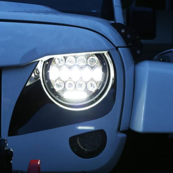 Give your Wrangler that edge look, while staying safe at night.  Plug & Play & LED Canbus & H4/H13 Adapter - Usually in 20 minutes or less Newest Fantastic Design LED Headlight With Halo Angel Eyes DRL replaces original halogen and HID headlights Power: 75W (2pcs) , Water-proof IP67,Color Temperature: 6000K 2 years free warranty & Life time customer support Application: 2007,2008,2009,2010,2011,2012,2013,2014,2015, 2016, 2017 Jeep Wrangler JK 4 Door/...