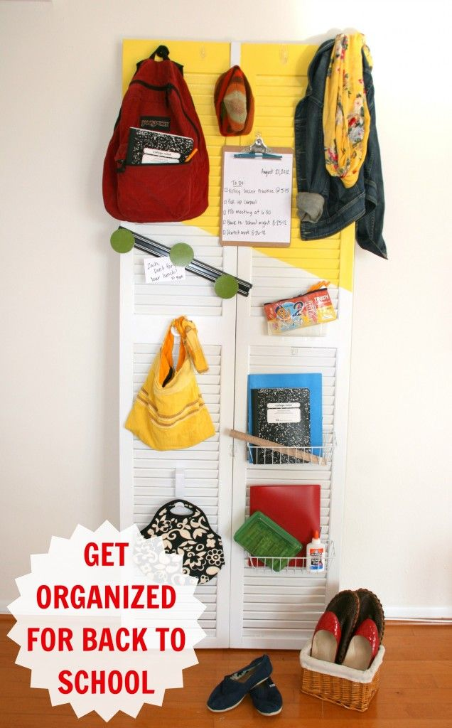 how to be organized for back at school (could use this in the kitchen or entry way)