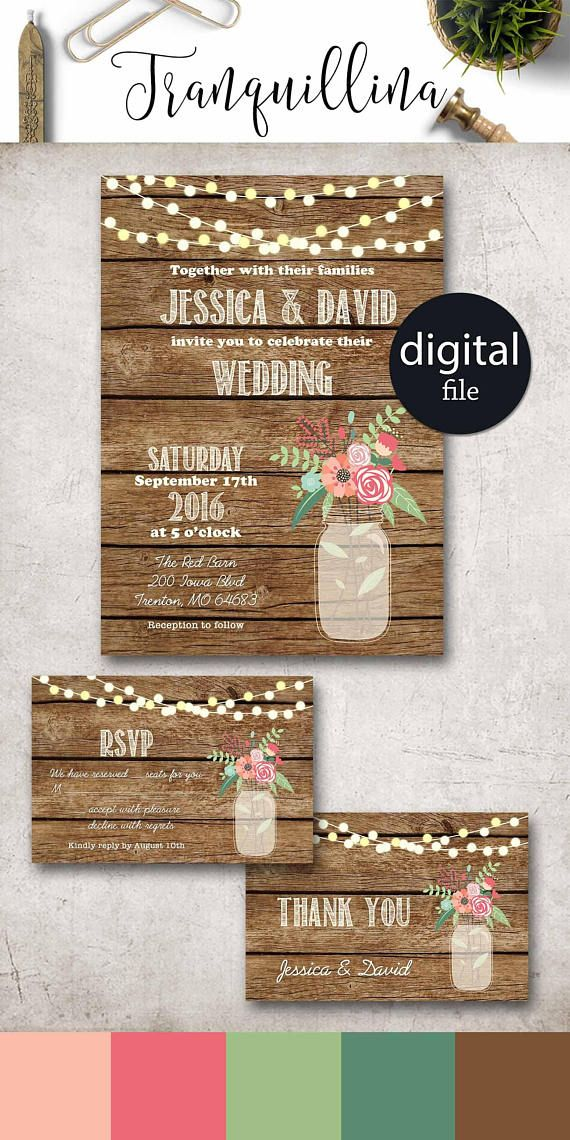 ideas for country wedding invitations%0A Rustic Wedding Invitation Printable Spring Summer Country Wedding Invitation  Set  Barn wedding Ideas