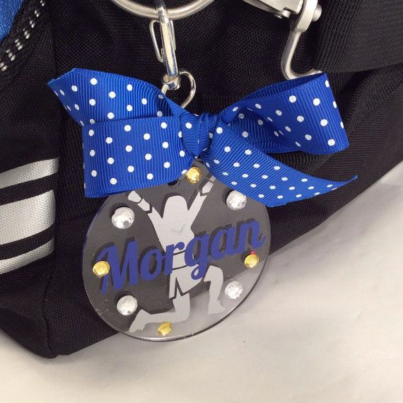 Cheerleader Bag Tag in Turquoise by GemLights on Etsy. Order yours today at www.gemlights.etsy.com.