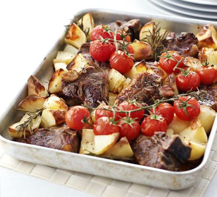 This one-pan supper only requires some quick assembling- pack in the Mediterranean flavours then let the oven do the work